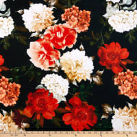 E.Z.Fabric Polyester Spun Stretch Jersey Knit Florals Red/White/Pink