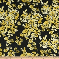 E.Z. Fabric Polyester Spun Stretch Jersey Knit Floral Yellow/White