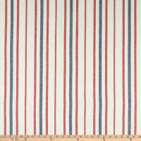 Fabtrends Boardwalk Rayon Linen Stripe Navy Red