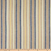 Fabtrends Boardwalk Rayon Linen Stripe Blue Cappuccino