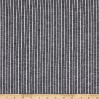 Fabtrends Yarndye Linen Look Small Stripe Black