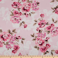 Fabtrends Linen Vintage Rose Bouquet Pink