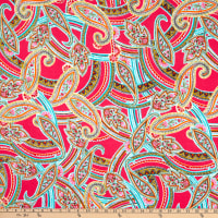 Fabtrends Dty Paisley Floral Bright Pink