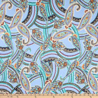 Fabtrends Dty Paisley Floral Mint Sky