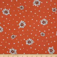 Fabtrends Rayon Soleil Daisy On Dots Terracotta Peach Ivory