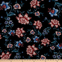 Fabtrends Rayon Soleil Floral Black Blush Beachglass