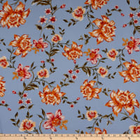 Fabtrends Rayon Soleil Floral Blue Yellow Coral