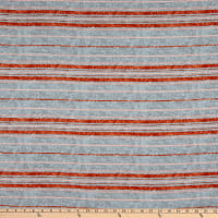 Fabtrends Rayon Soleil Tie Dye Stripe Chambray Rust Ivory
