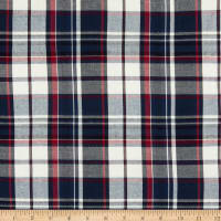 Fabtrends Yarn Dye Rayon Challis Plaid Navy Red White