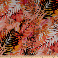 Fabtrends Hi Multi Chiffon Tropical Leaf Melon Pink