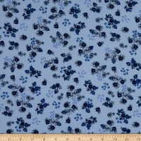 Fabtrends Wool Dobby Chiffon Floral Navy/Denim/Ivory