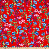 Fabtrends Washer Ghost Floral On Branches Red Peri