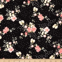 Fabtrends Washer Ghost Texture Crepe Floral On Dots Black Blush Yellow