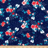 Fabtrends Washer Ghost Texture Crepe Floral On Dots Navy Red Blue