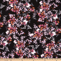 Fabtrends Washer Ghost Texture Crepe Floral Bouquet Black Multi