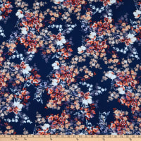 Fabtrends Washer Ghost Texture Crepe Floral Bouquet Navy Peach Peri
