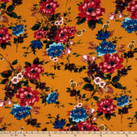 Fabtrends Washer Ghost Texture Crepe Floral Bouquet Gold Red