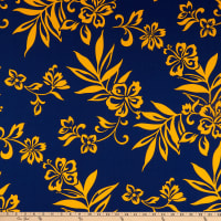 Trans-Pacific Textiles Hibiscus Pareo Navy/Gold