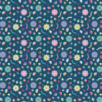 Camelot Llama Drama Assorted Flowers Navy