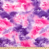 Fabric Merchants Double Brushed Poly Stretch Jersey Knit Galaxy Pink/Purple