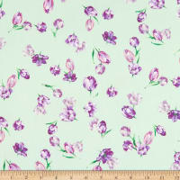 Fabric Merchants Double Brushed Poly Jersey Knit Mini Floral Sage/Purple