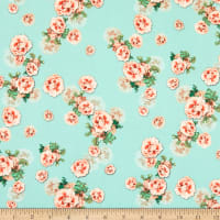 Fabric Merchants Double Brushed Poly Jersey Knit Mini Floral Mint/Coral