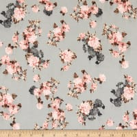 Fabric Merchants Double Brushed Poly Jersey Knit Mini Floral Gray/Mauve