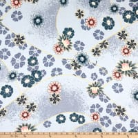 Fabric Merchants Double Brushed Poly Stretch Jersey Knit Patchwork Floral Gray