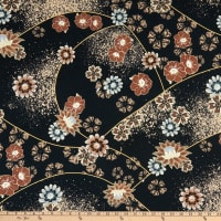 Fabric Merchants Double Brushed Poly Jersey Knit Patchwork Floral Black