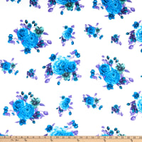 Fabric Merchants Double Brushed Poly Jersey Knit Rose Bouquet Ivory/Blue