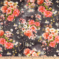 Fabric Merchants Double Brushed Poly Jersey Knit Floral Garden Black/Coral