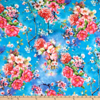 Fabric Merchants Double Brushed Poly Jersey Knit Floral Garden Turquoise