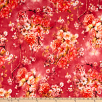 Fabric Merchants Double Brushed Poly Stretch Jersey Knit Floral Garden Berry