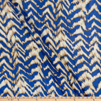 Fabric Merchants Silk Chiffon Abstract  Royal/Ivory