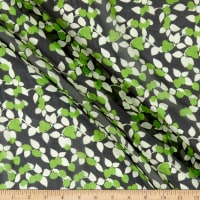 Fabric Merchants Silk Chiffon Blooming Garden Black/Lime