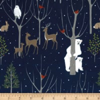 Michael Miller Minky Wildlife Winter Navy