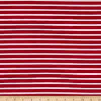 Fabric Merchants Liverpool Double Knit Thin Stripe Wine/Ivory