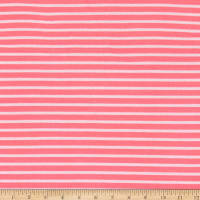 Fabric Merchants Liverpool Double Knit Thin Stripe Hot Pink/Ivory