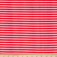 Fabric Merchants Liverpool Double Stretch Knit Thin Stripe Coral/Ivory