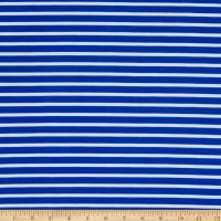 Fabric Merchants Liverpool Double Knit Thin Stripe Royal/Ivory