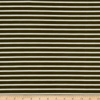 Fabric Merchants Liverpool Double Knit Thin Stripe Olive/Ivory