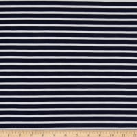 Fabric Merchants Liverpool Double Knit Thin Stripe Navy/Ivory
