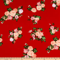 Fabric Merchants Liverpool Double Knit Rose Bouquet Red/Pink
