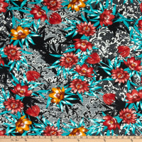 Fabric Merchants ITY Jersey Knit Abstract Floral Black/Marsala