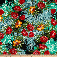 Fabric Merchants ITY Jersey Knit Abstract Floral Green/Red