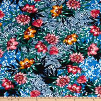 Fabric Merchants ITY Jersey Knit Abstract Floral Blue/Red