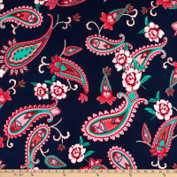 Fabric Merchants ITY Jersey Knit Paisley Floral Navy/Pink