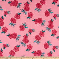 Fabric Merchants ITY Jersey Knit Floral Pink