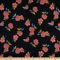 Fabric Merchants ITY Jersey Knit Floral Black/Coral