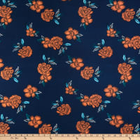 Fabric Merchants ITY Stretch Jersey Knit Floral Navy/Orange
